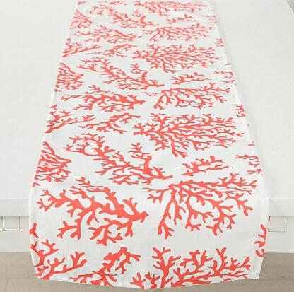 Tischläufer Tischbanner Motiv Koralle weiß rot 140 cm Tischdekoration Sommer Meer