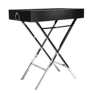 Beistelltisch schwarz Kroko Leder Tablett-Tisch schwarz Servier-Tisch Butler-Tisch klappbar schwarz Leder Kroko eckig mit abnehmbarem Tablett Dekoration Luxury Interior