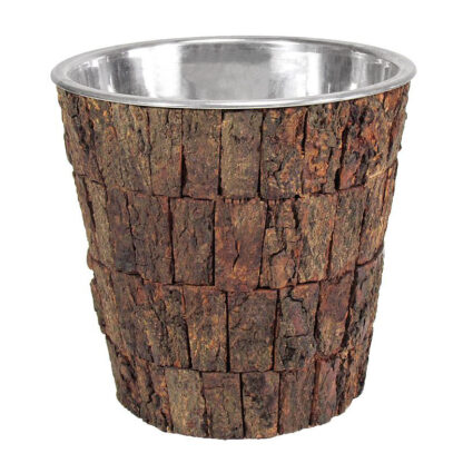 Sektkühler Weinkühler aus Holz Baumrinde und Edelstahl Champagnerkühler Chalet Stil Weinkühler Jäger Hüttenstil Party Pokalkübel für Sekt Wein Champagner