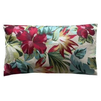 Kissen Leinenkissen exotische Blumen rot türkis grün auf beige Leinen Leinenkissen bestickt mit Blumen Sommerkissen Blumenkissen