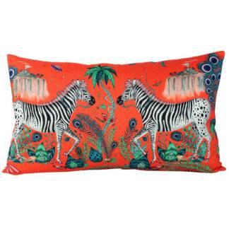 Kissen Zebra Motiv schwarz weiß orange edel Kissen Sommerkissen Luxuskissen