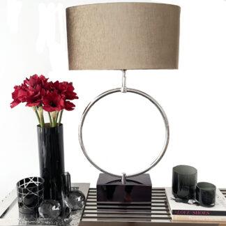 Tischlampe Kreis rund auf Fuß schwarz Lampenschirm bronze gold Velours XL edle Tischlampe Luxus Licht Dekoration