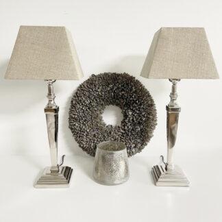 Tischlampe silber mit vierkant beige natur Leinen Lampenshirm