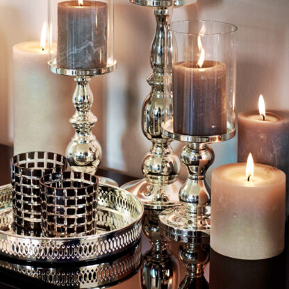 Windlicht versilbert mit Glasaufsatz edel elegant Windlicht Edzard Teelichthalter für Kerzen Stumpenkerzen in zwei Größen Kerzenschein Tischdekoration