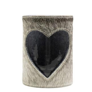 Windlicht Teelichthalter Kuhfell grau mit Herzmotiv ausgestanzt Licht Chalet und Hüttenstil Dekoration