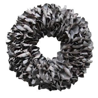 Naturkranz Palm Blatt Blätterkranz dunkel grau wash dark Grey wash Türkranz Dekokranz Wandkranz Tischkranz Herbst Dekoration Weihnachtskranz