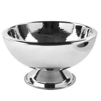 Champganerkübel Pokalschale Weinkühler Punchbowl silber Edelstahl gehämmert doppelwandig auf Fuß von der Marke Fink Serie Kalas