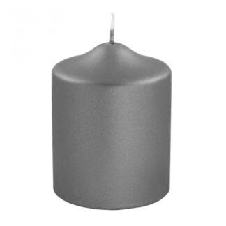 Stumpenkerze grau metallic Kerze grau von Fink edel lange Brenndauer Kerzenwachs Licht Weihnachten
