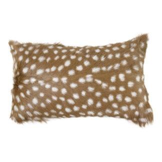 Kissen Ziegenfell Bambi braun mit weiß sehr weich edel Kissen Rehkitz Bambi Chalet Hüttenstil Landhaus
