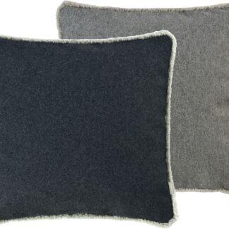Kissenhülle grau anthrazit Wendekissenhülle zweifarbig mit Fransen