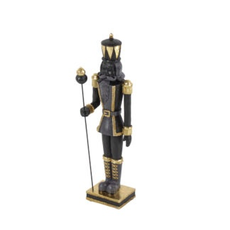 Dekofigur Nussknacker gold schwarz edel auf Sockel mit Stab Weihnachtsdekoration Nussknacker XXL 90 cm und 50 cm