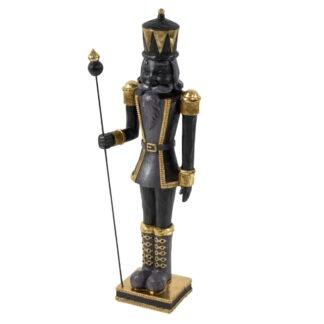 Dekofigur Nussknacker gold schwarz edel auf Sockel mit Stab Weihnachtsdekoration Nussknacker XXL