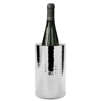 Weinkühler Flaschenkühler silber Edelstahl gehämmert doppelwandig Weinkühler Kalas von Fink Kalas Serie