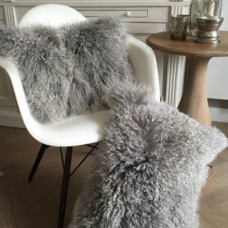 Kissen Tibet Lammfell silber grau beige mongolisches Schaffell Langhaar sehr weich Lammfell echt Fell silber grau beige 40 cm 50 cm 60 cm