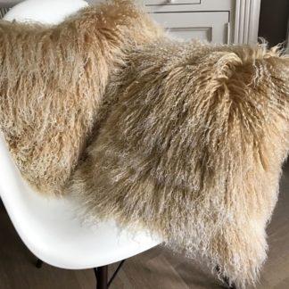 Kissen Tibet Lammfell beige weiß echt Fell Schaffell mongolisches Lammfell beige Snow beige mit weißen Spitzen