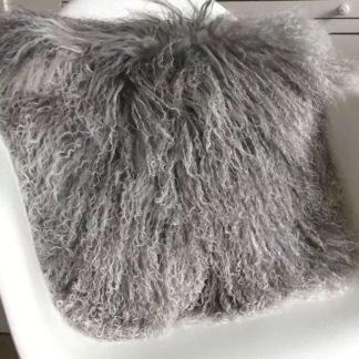 Kissen Tibet Lammfell, mongolisches Schaffell silber grau beige, sehr weich