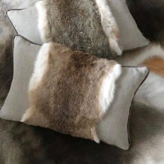 Luxus Kissen echt Fell Hasenfell Kaninchenfell Rabbit echt Leder braun weiß Leinenkissen