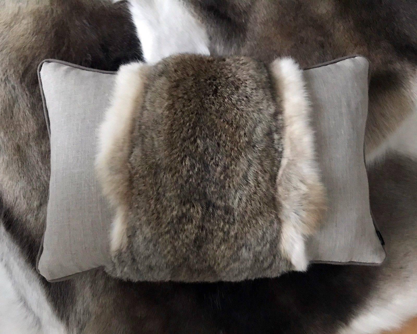 Luxus Kissen Leinenkissen echt Fell Hase Fellkissen Rabbit beige ...
