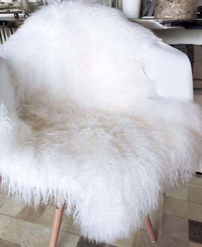 Fell Tibet Lammfell, mongolisches Schaffell echt Fell super weich weiß