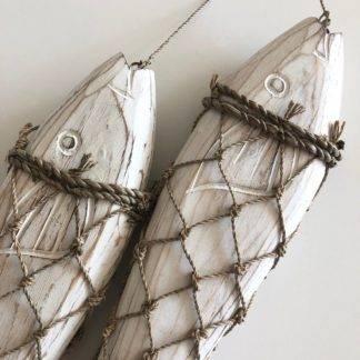 Dekoartikel Fisch Holz Netz weiß 2er Set Dekoration Fisch