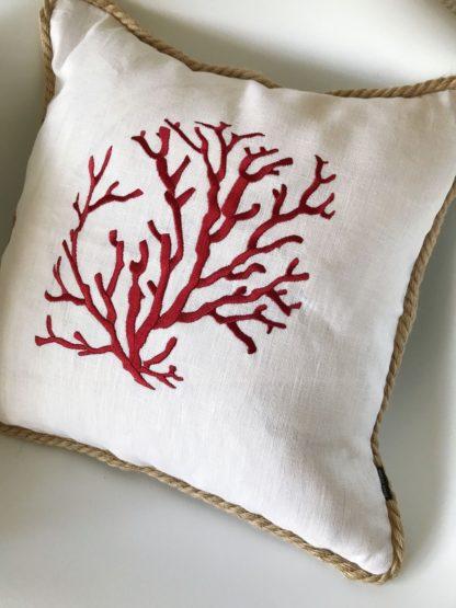 Kissen Leinenkissen Koralle Korallenmotiv rot weiß sehr edel mit Kordel Dekokissen Leinen Koralle