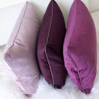 Kissen Samtkissen Kissenhülle Samt Elegance lilac Flieder, fuchsia purple Töne 50x50 cm und 35x60 cm von pad concept