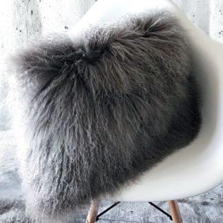 Kissen Tibet Lammfell grau mongolisches Schaffell Langhaar sehr weich Lammfell echt Fell grau stone grau