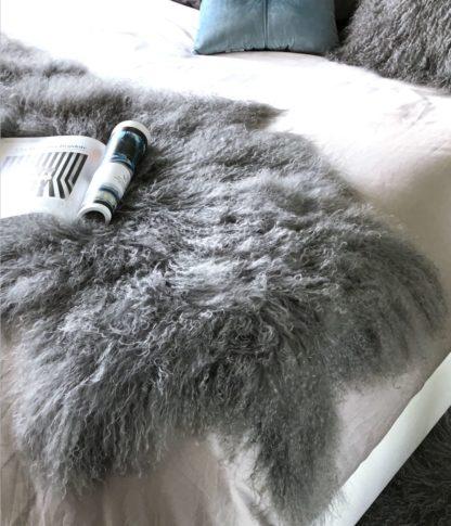 Tibet Lammfell, mongolisches Schaffell, Langhaar, sehr weich, stone grau , Lammfell, echt Fell