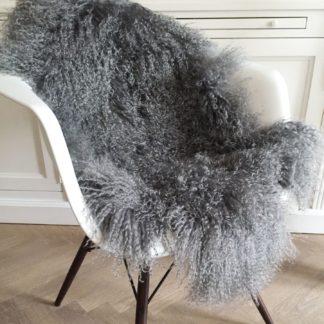 Tibet Lammfell grau mongolisches Schaffell grau Langhaar sehr weich stone grau Lammfell echt Fell grau hell grau