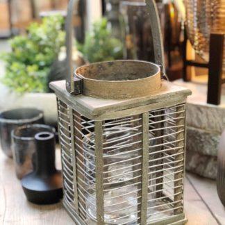 Windlicht Laterne Grau Shabby chic Bambus Metall Glaseinsatz von Light and Living