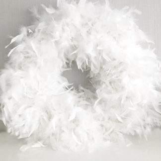 XXL Federkranz weiß mit echten Federn dekorativ auch als Hochzeitskranz Osterkranz Weihnachtskranz Dekokranz Türkranz Wandkranz weiß mit echten Federn Ø 40 cm