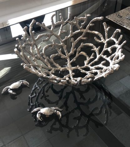 Schale Korallen-Form silber Metall Obstschale Koralle Korallenform Alu Metall sehr edel Korallenschale Dekoschale Sommer Maritim Meer Strand Koralle