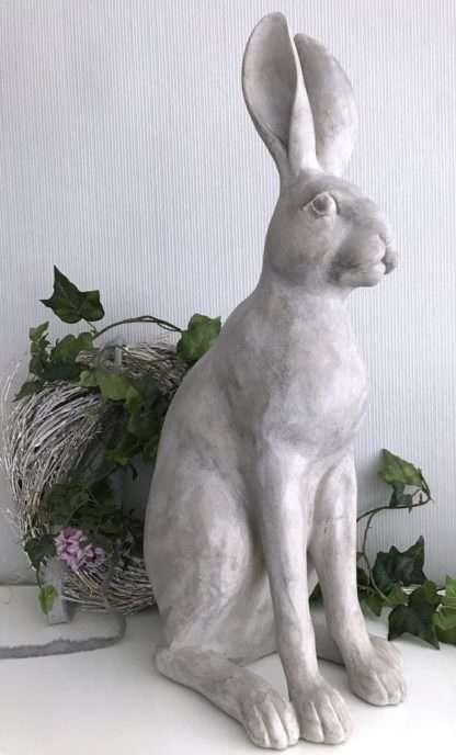 Deko-Figur Osterhase Hase XXL Osterhase Rabbit in grau weiß Shabby chic 63 cm Prachtexemplar aus Polyrestan, Deko-Osterhase