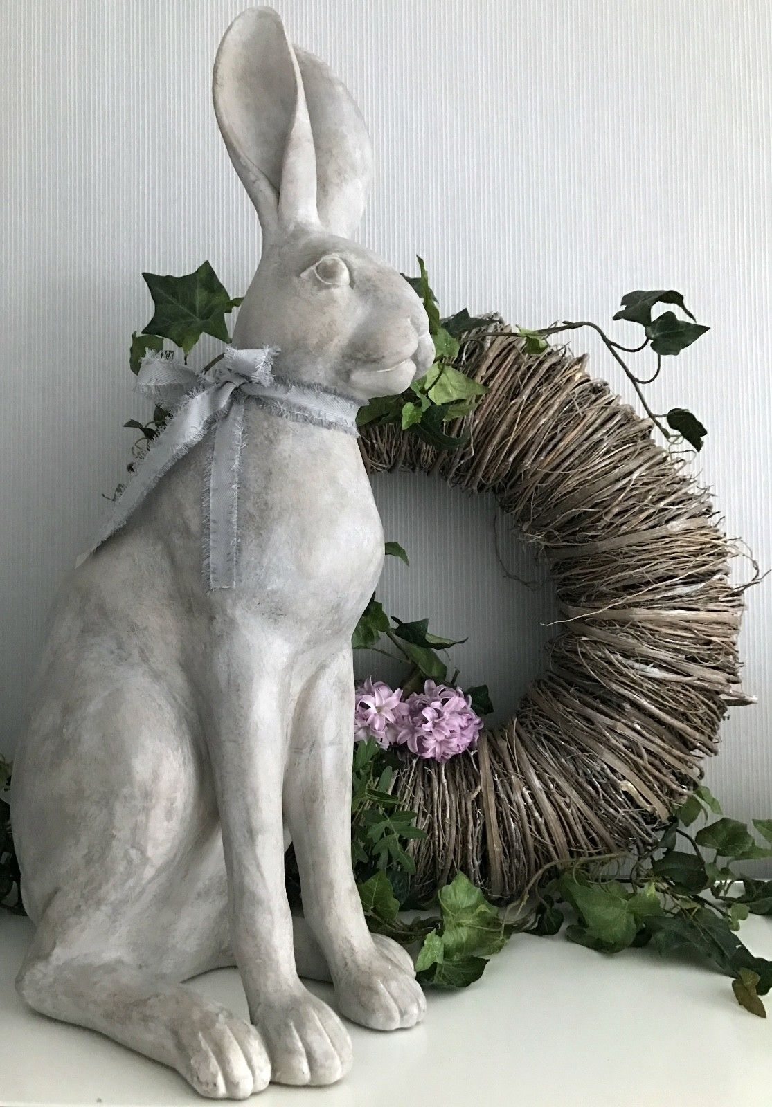 hase osterhase grau wei xxl shabby chic 63 cm gro rabbit giannoula flourou. Black Bedroom Furniture Sets. Home Design Ideas