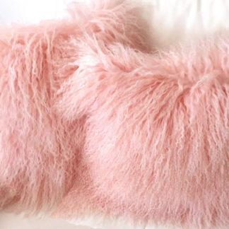 Kissen Fell Kissen Tibet Lammfell , monglisches Lammfell sehr weich, echt Fell rosa