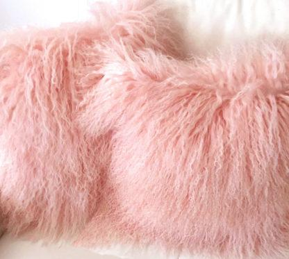 Kissen Tibet Lammfell rosa monglisches Schaffell sehr weich echt Fell rosa
