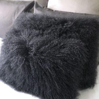Kissen Tibet Lammfell grau dunkel grau anthrazit mongolisches Schaffell echt Fell super weich anthrazit schwarz dunkel grau