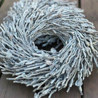 Holzkranz Türkranz Dekokranz Wurzelkranz grau weiß gekalkt Rebenkranz Weidenkranz Ø30-50 cm