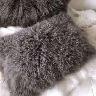 Kissen Tibet Lammfell, mongolisches Schaffell echt Fell super weich Maronen braun
