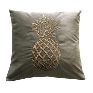 Luxus Kissen Samtkissen mit bestickter goldener Ananas Kissen mit Ananas Motiv