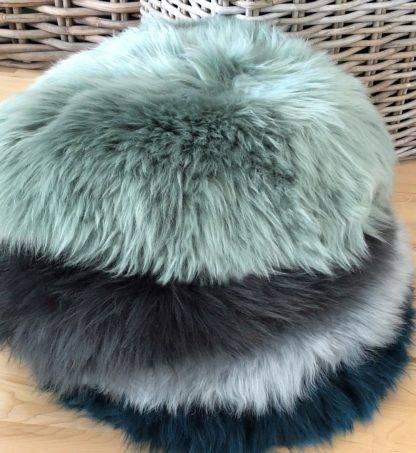 Stuhlauflage Pad Sitzkissen Lammfell auskin echt weich echt fell verschieden Farben blau , grün, rosa, weiß grau