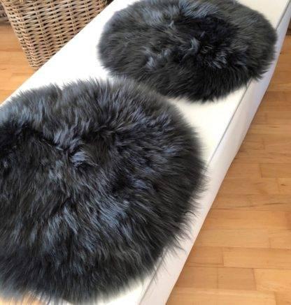 Stuhlauflage Pad Sitzkissen Lammfell auskin echt weich echt fell grau anthrazit