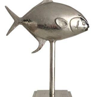 Deko Fisch Fischfigur auf Ständer Aluminium Silber Metall edel