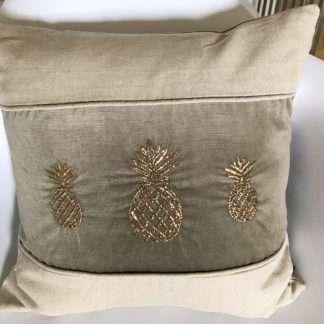 Luxus Kissen Samtkissen Leinenkissen mit bestickter goldener Ananas Kissen mit Ananas Motiv