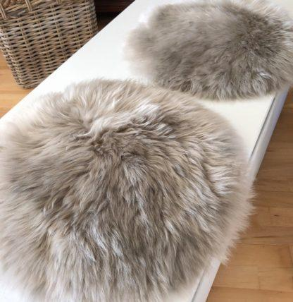 Stuhlauflage Pad Sitzkissen Lammfell auskin echt weich echt fell beige taupe beige pad rund echt Fell