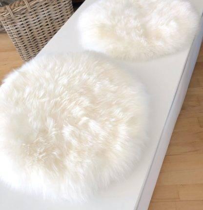 Stuhlauflage Pad Sitzkissen weiss Lammfell auskin extra weich echt fell weiss weiß