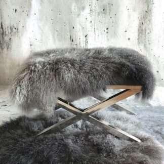 Tibet Lammfell, mongolisches Schaffell, Langhaar, sehr weich, Lammfell, echt Fell, grau anthrazit Verlauf ombre