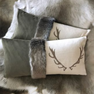 Kissen Hirsch Hirschgeweih bestickt mit Fell und Samt, Edel, stehen design, Olive grün, beige braun creme