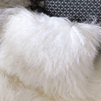 Kissen Tibet Lammfell weiss echt Fell mongolisches Schaffell Langhaar weiß super weich echt Fell