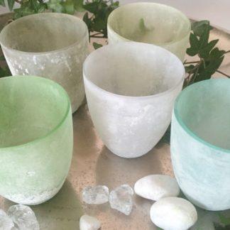 Teelicht weiß grün blau gelb Glas gekalkt verschiedene Farben Sommer Teelicht maritim Teelichhalter Windlicht 5er Set